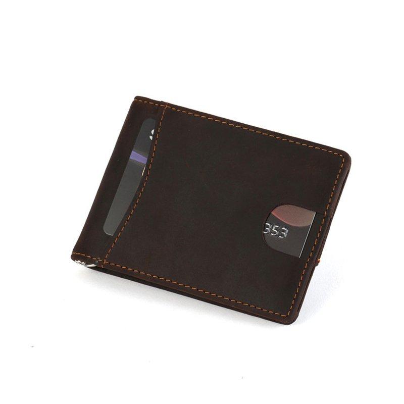 RFID blocking custom leather money clip slim biford mens wallet  LT-MC001