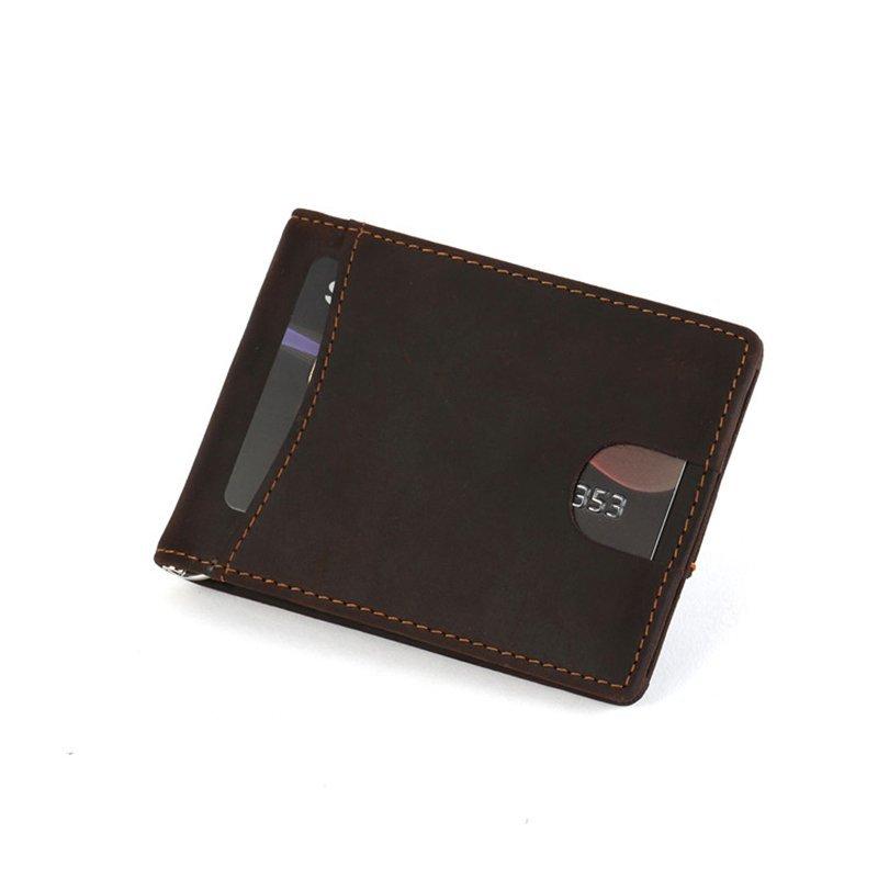 RFID blocking custom leather money clip slim biford mens wallet  LT-BMM016