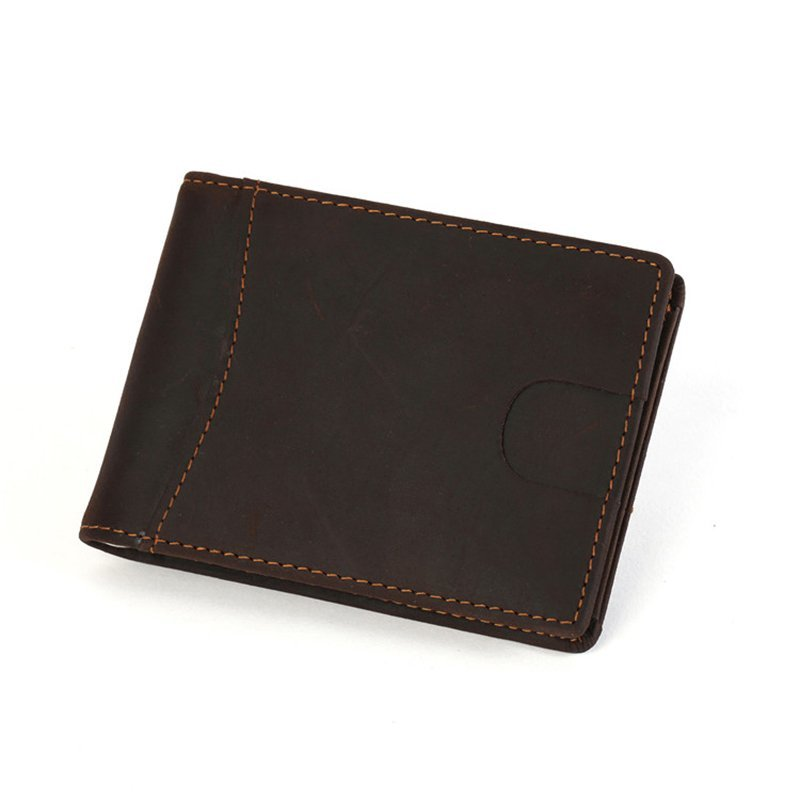 RFID blocking custom leather money clip slim biford mens wallet  LT-MC001