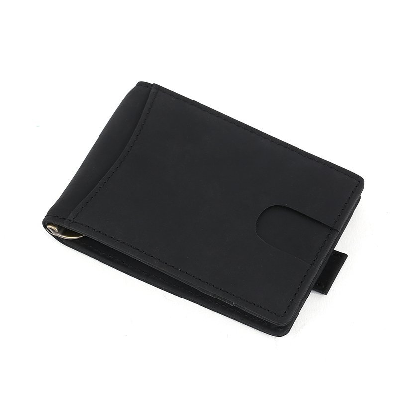 RFID blocking custom leather money clip slim biford mens wallet LT-MC004