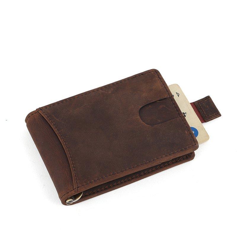 genuine leather credit card holder Crazy horse mens leather money clip  LT-MC005