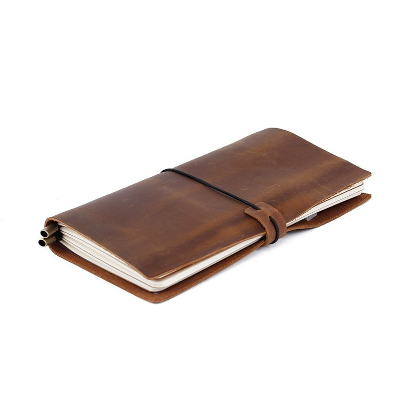 full grain genuine cow leather cover notebook travel journal with metal pen clip LT-LJ005
