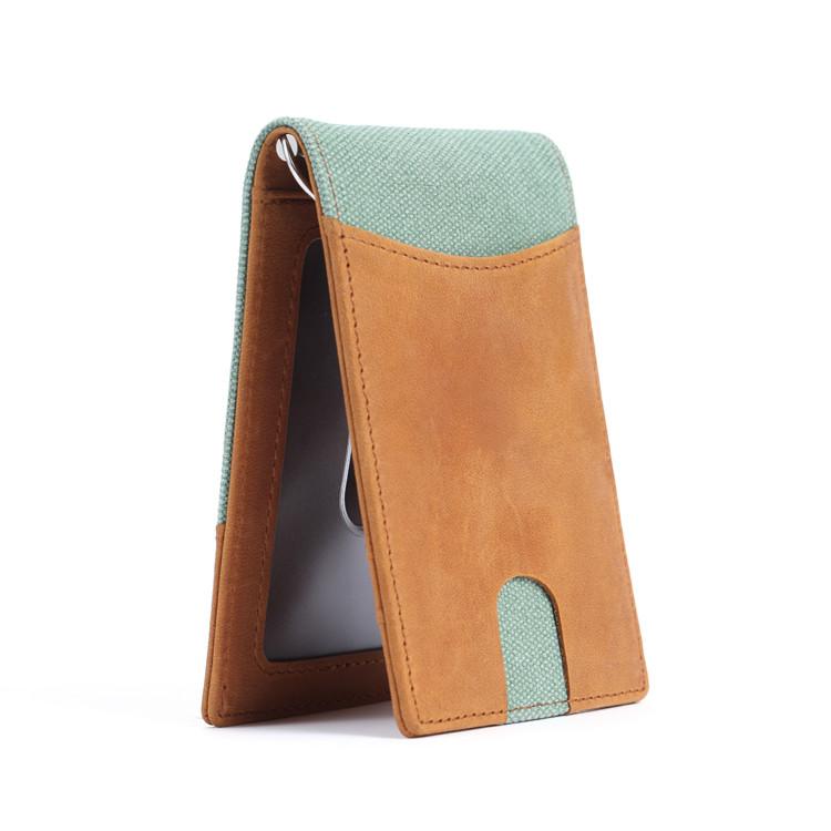 OEM fashion money clip wallet with RFID blocking