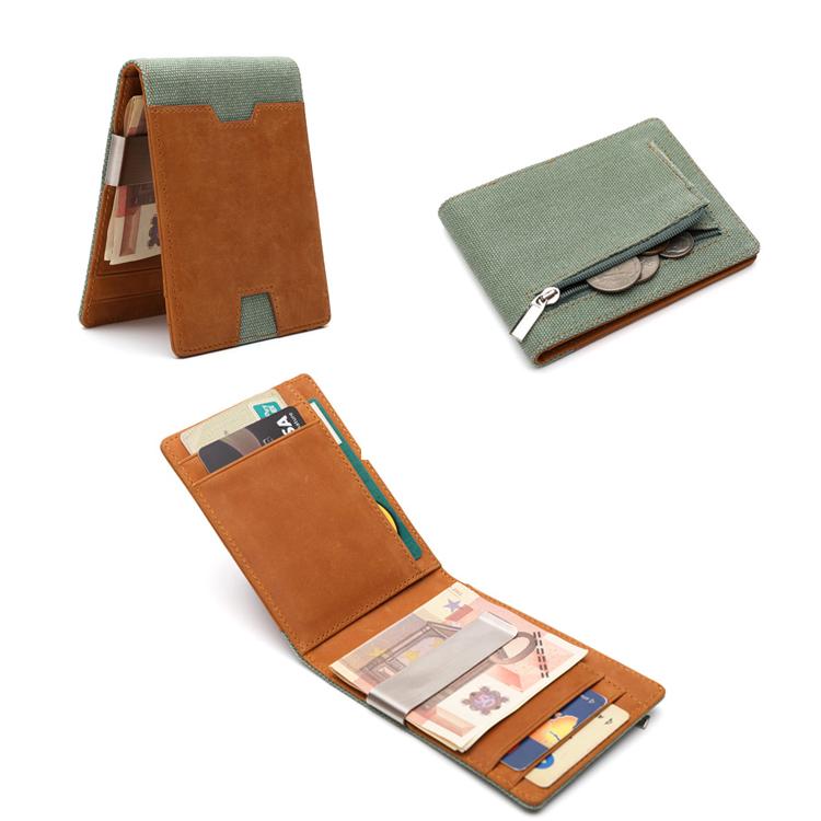 Mens Money Clip Wallets slim Front Pocket RFID Blocking Card Holder Minimalist Bifold Wallet Gift Box LT-BMW071