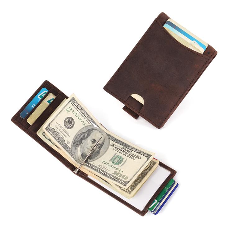RFID Blocking Slim Bifold Genuine Leather Minimalist Front Pocket Wallets for Men with Money Clip LT-BMM001