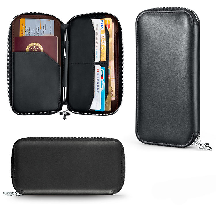 Men's Genuine Leather Wallet Long Bifold Passport Holder Wallet for Men Credit Card Holder with Zipper