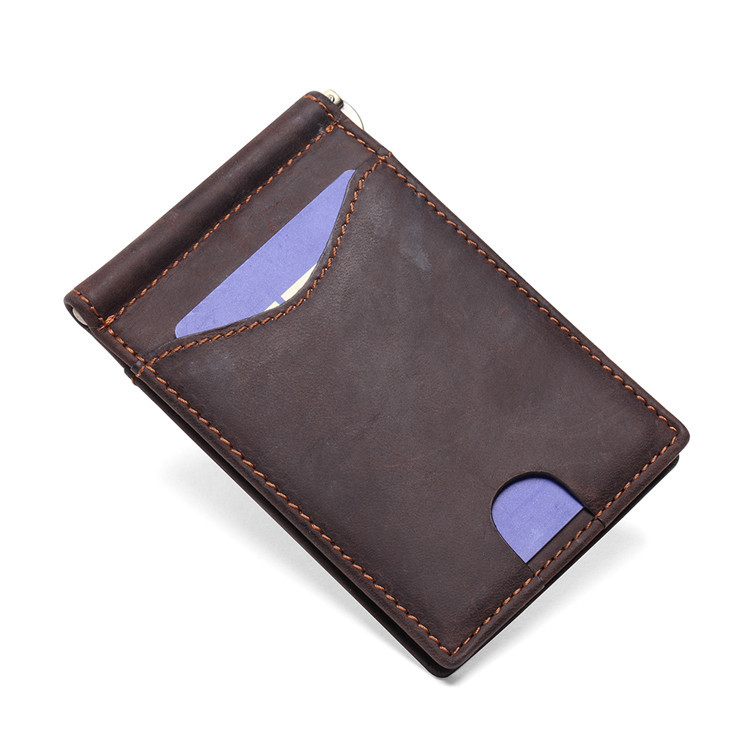 RFID Blocking Slim Bifold Genuine Leather Minimalist Front Pocket Wallets for Men with Money Clip LT-BMM004