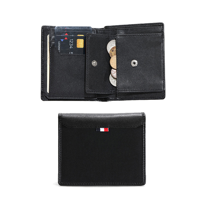 Waterproof Men's Wallet RFID Blocking Bifold Trifold Canvas Leather Slim Wallet with ID Window