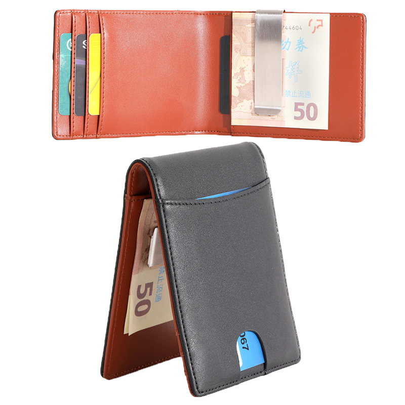 Hot selling genuine leather money clip wallet RFID blocking money clip wallets for men