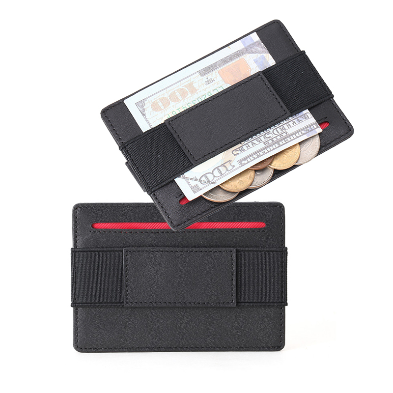 Minimalist Card Holder Mini Unisex RFID Blocking Wholesale Leather Elastic Slim Wallet