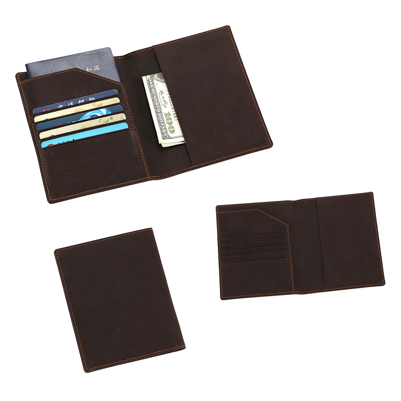 Classic Crazy Horse personalised leather passport holder slim wallet  LT-BMP005